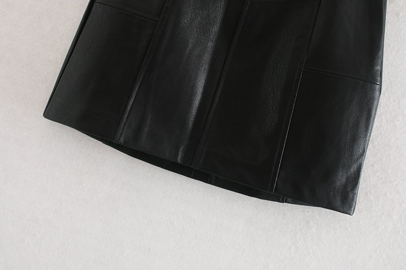 Wholesale 2019 autumn and winter stitching leather short skirt a word skirt NHAM181980