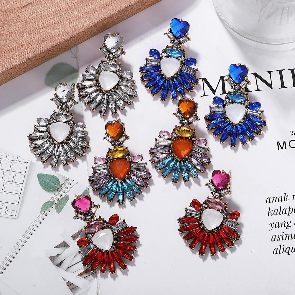 Simple and stylish alloy diamond earrings are irregular NHJQ171221