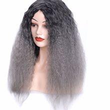 夜店时尚女长卷发头套黑色奶奶灰彩色渐变玉米烫假发头套长发头套