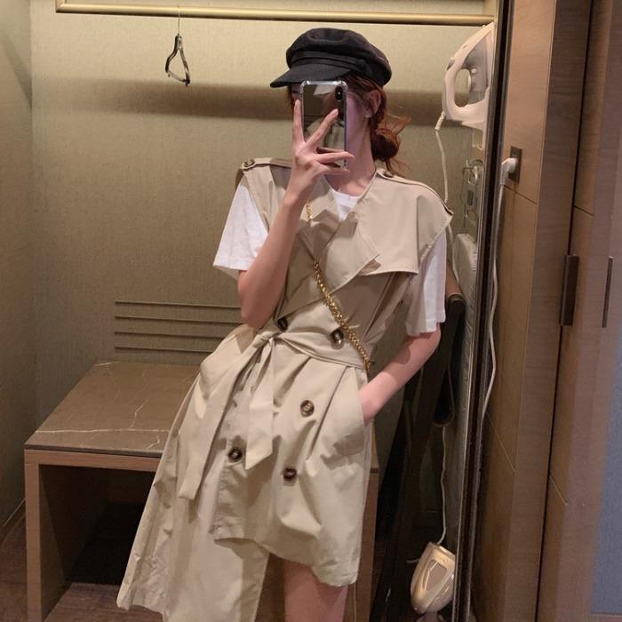 设计感洋气马甲女中长款无袖风衣韩版宽松不规则无袖开衫外套秋季
