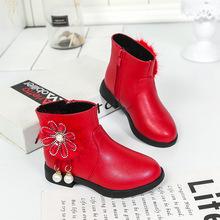 童鞋女童靴子2021秋冬新款短靴學生皮鞋小女孩韓版兒童保暖馬丁靴