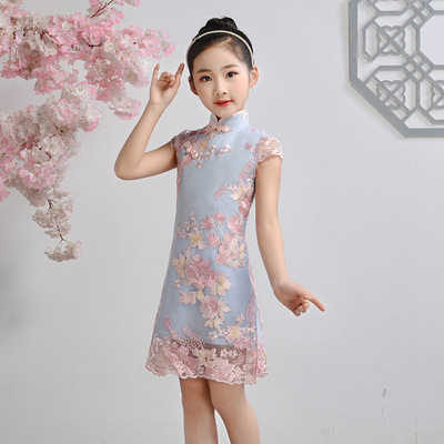 Qipao for kids Children Chinese Dress cheongsam girl Chinese Dress Hanfu baby thin foreign style retro performance dress
