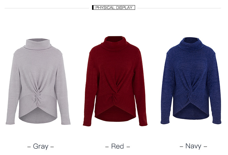 fashion new high-neck solid color sweater wholesale NSKA1853