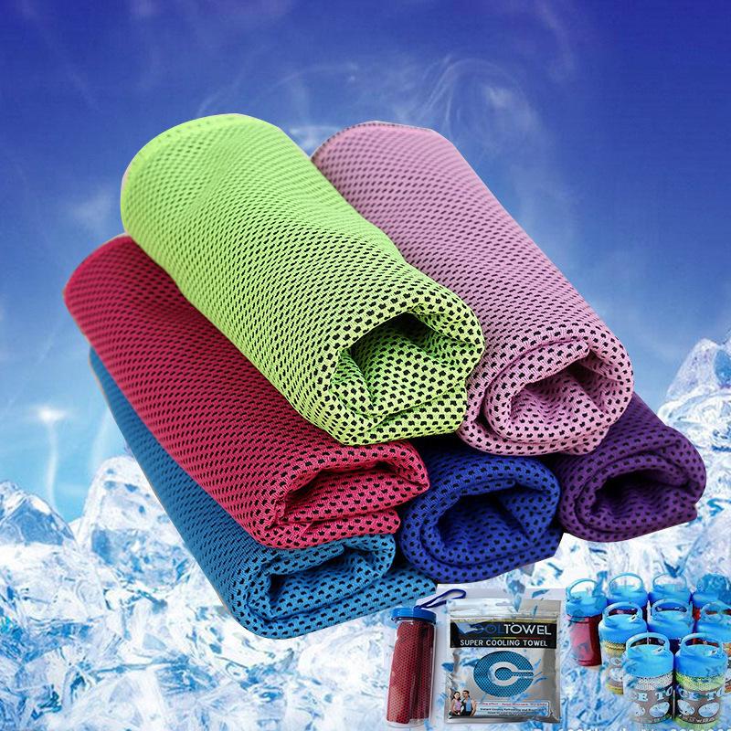 跨境降温 冰凉巾 户外冰巾运动双色冰毛巾 赠品冷感运动毛巾 批发