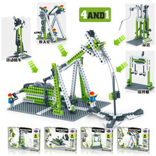 開智1000齒輪科技積木摩天輪旋轉木馬兒童益智力創意機械拼裝玩具