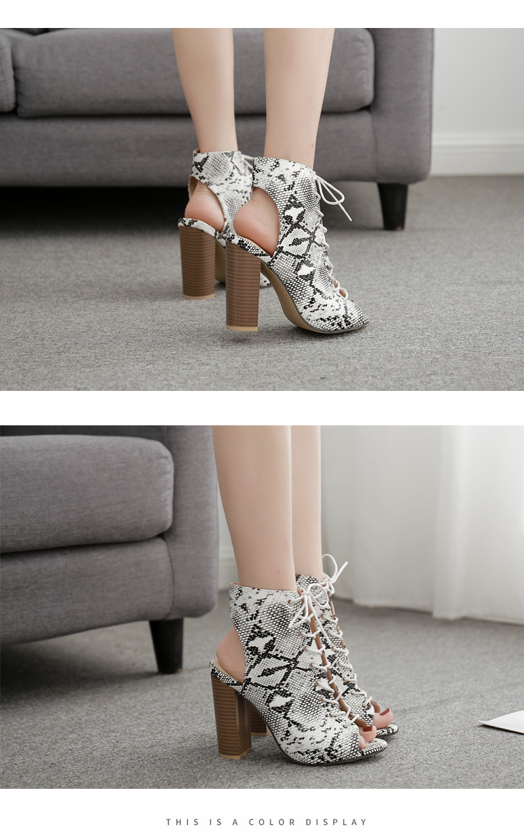 Large size thick high heel straps snake fish mouth cool boots NHSO130874
