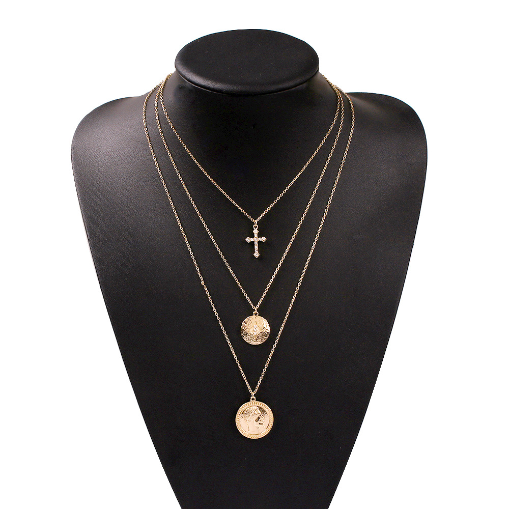 Jewelry multilayer alloy disc head pendant fashion creative conch necklace NHMD184993