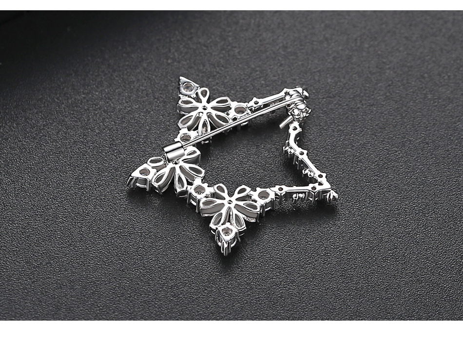 Korean fashion new color female pentagonal copper zirconium brooch accessory NHTM199575