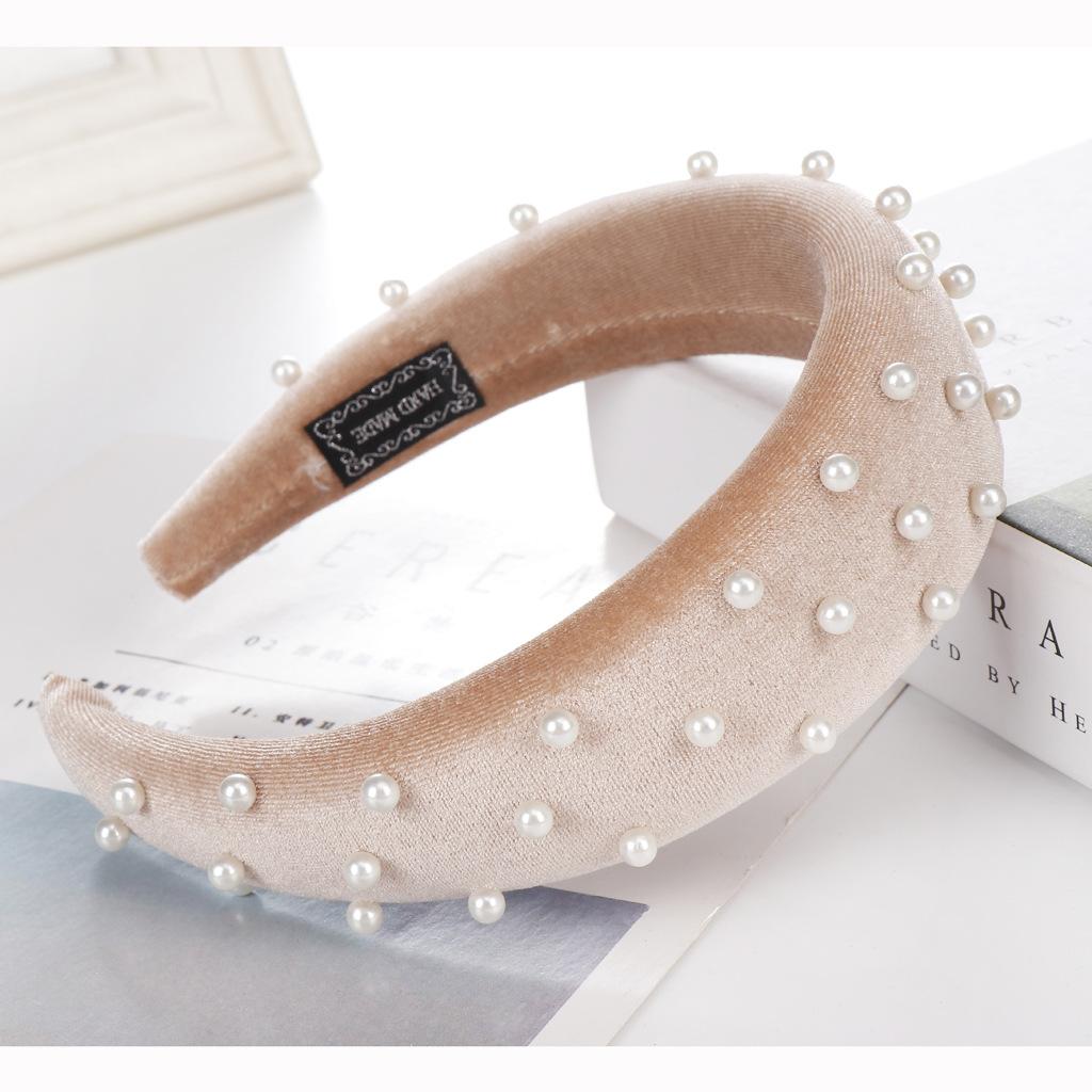 Fashion multi-color velvet bead sponge wide headband NHHV139950