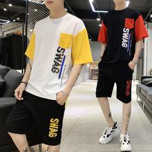 2019新款蚂蚁皱面料短袖短裤男两件套青少年五分裤套装潮装