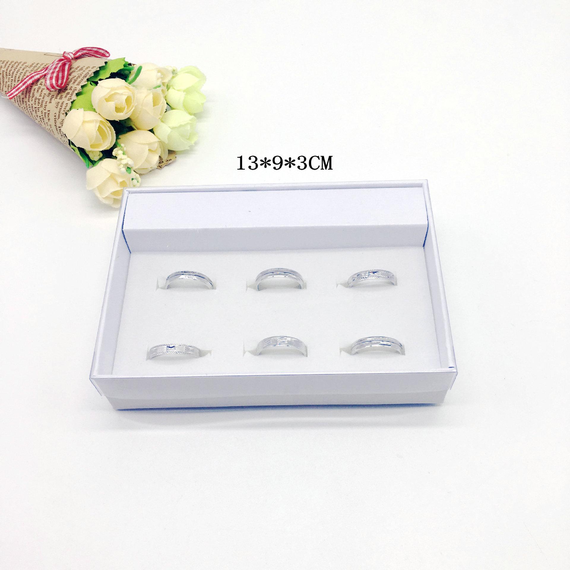 厂家现货供应通款6孔地摊戒指包装盒 12孔位带透明PVC盖首饰盒