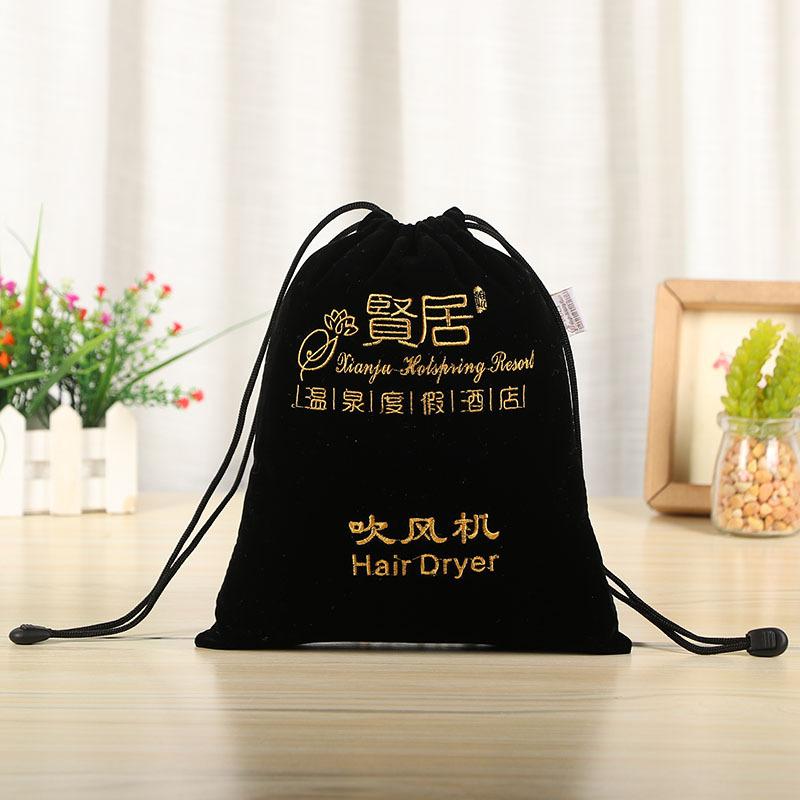 批发定制电器吹风机包装礼品袋烫金logo抽绳束口绒布袋 量大价优