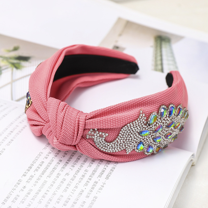 Solid color fabric peacock rhinestone headband NHOU146156