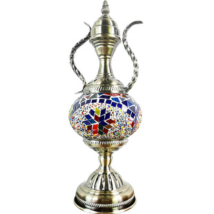 Exotic Turkish retro glass lamp decorative table lamp pot lamp coffee pot night light led decorative table lamp