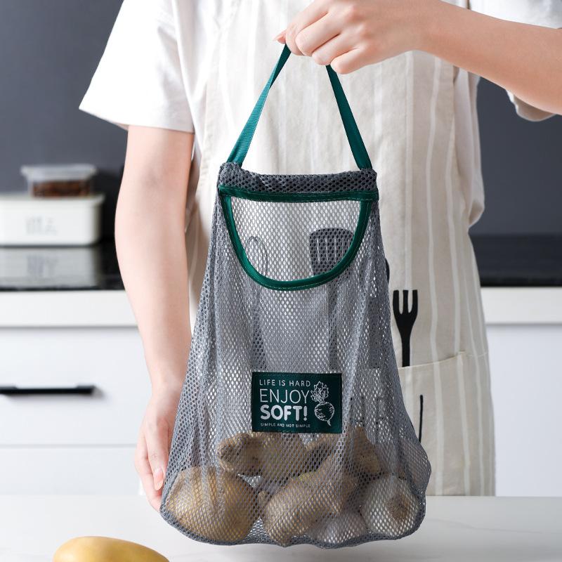 厨房蔬菜收纳网袋家用多用途创意水果壁挂袋可挂式洋葱大蒜储物袋