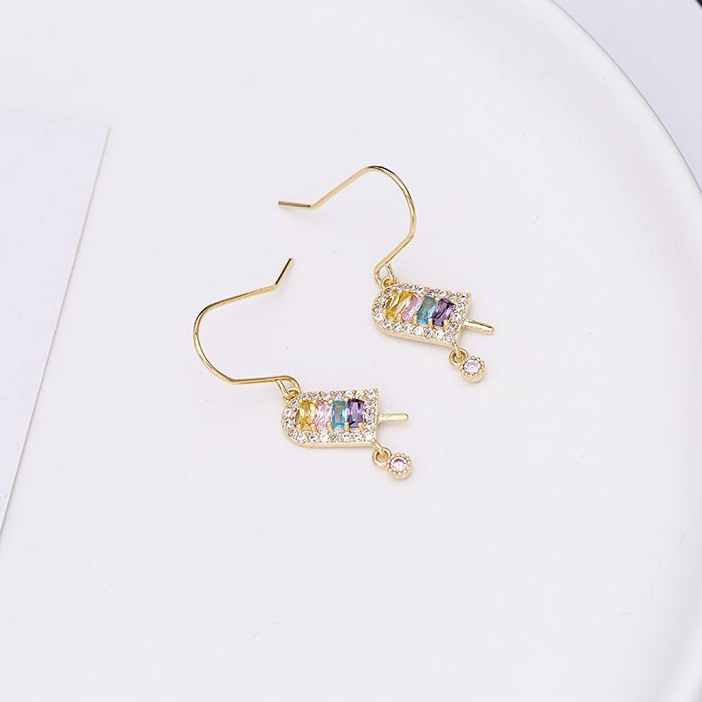 Fashion cute ice cream earrings simple diamonds explosions super flash earrings wholesale fashion jewelry NHDO181383