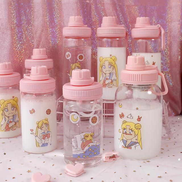 茶迷韩国清新大容量手提支架水杯渐变少女心随手泡茶果汁玻璃杯子