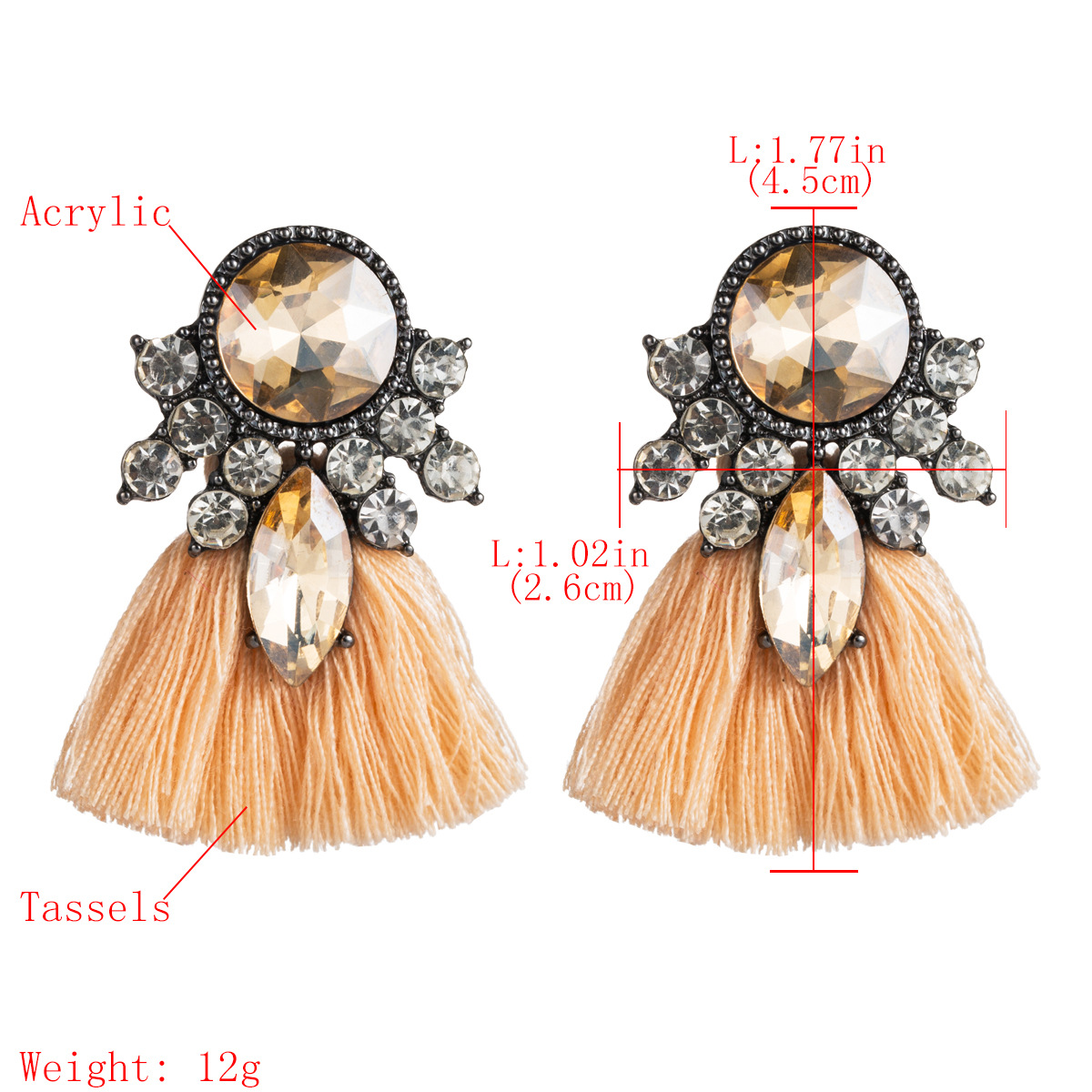 New Acrylic Rhinestone Stud Earrings NHJE146768
