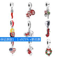 潘家s925純銀珠子象征紅色圣誕款 米妮吊墜 diy創意手鏈搭配串飾