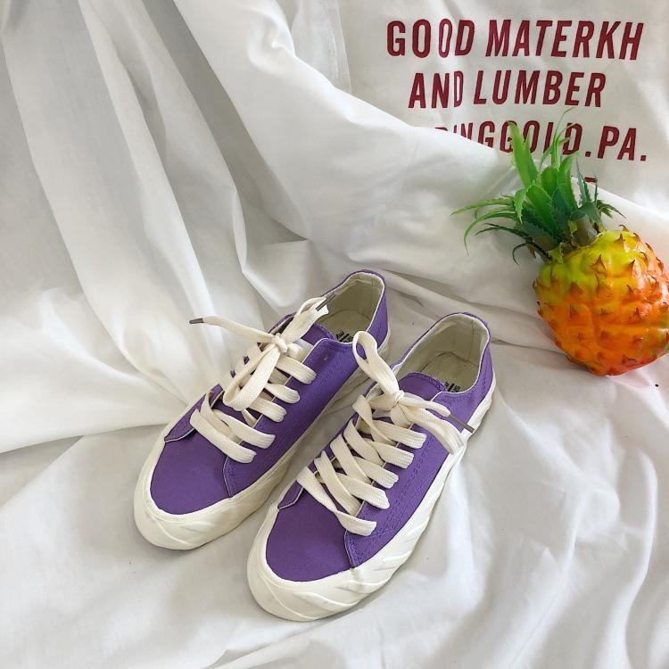 兔兔宋 ins很火紫色麻叶贝壳头饼干鞋女李圣经同款原宿学生帆布鞋