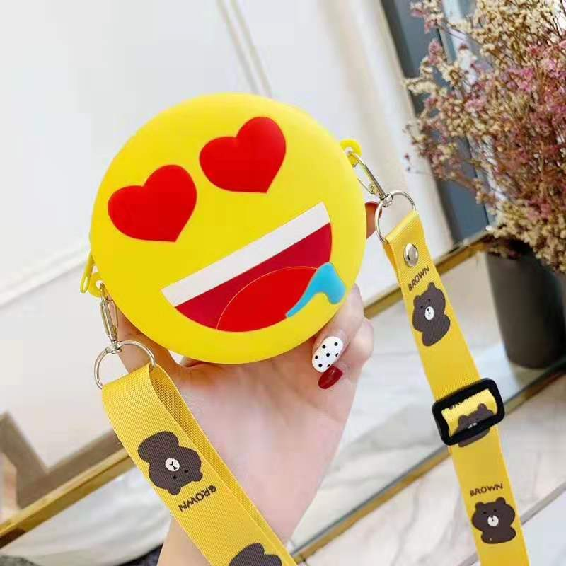 Korean cute lanyard girl heart silicone card bag coin bag cute soft NHFA193873