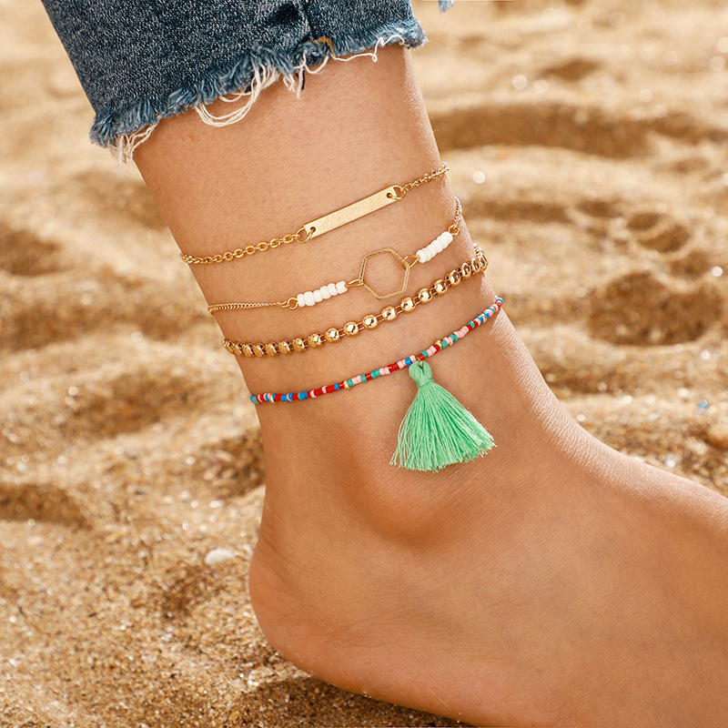 Jewelry Bohemia Color Rice Bead Tassel Multilayer Anklet Geometric Anklet 4-piece Set NHGY183419