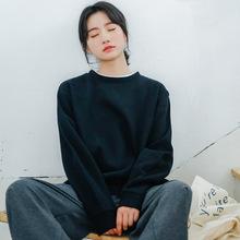 2019秋冬新款韩版简约纯色厚实BF风假两件棒球呢子套头卫衣女上衣
