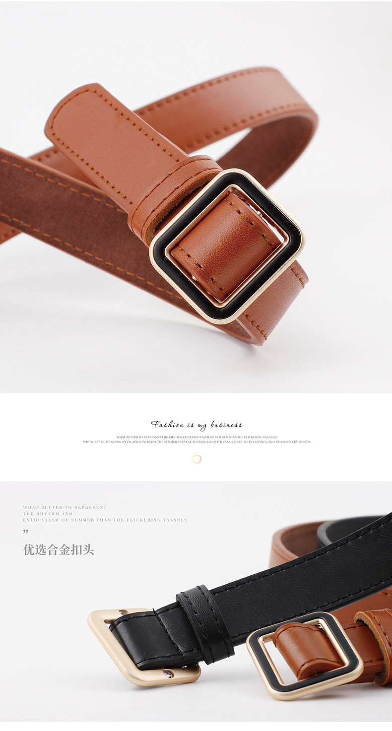 Fashion solid color square metal buckle women belts NHPO153277