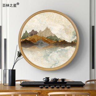 Retro bamboo round decorative picture frame wholesale simple corridor living room hanging children's photo frame clock frame tide