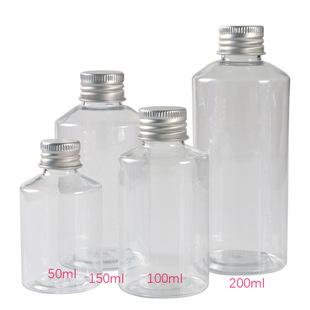 50 100 150 200ml ml transparent oblique shoulder plastic bottle with aluminum cap essential oil cosmetic dispensing sample empty bottle