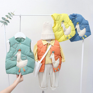 Autumn and winter 2020 new children's down cotton vest wholesale light and thin middle and small children's baby children's clothing cotton vest waistcoat
