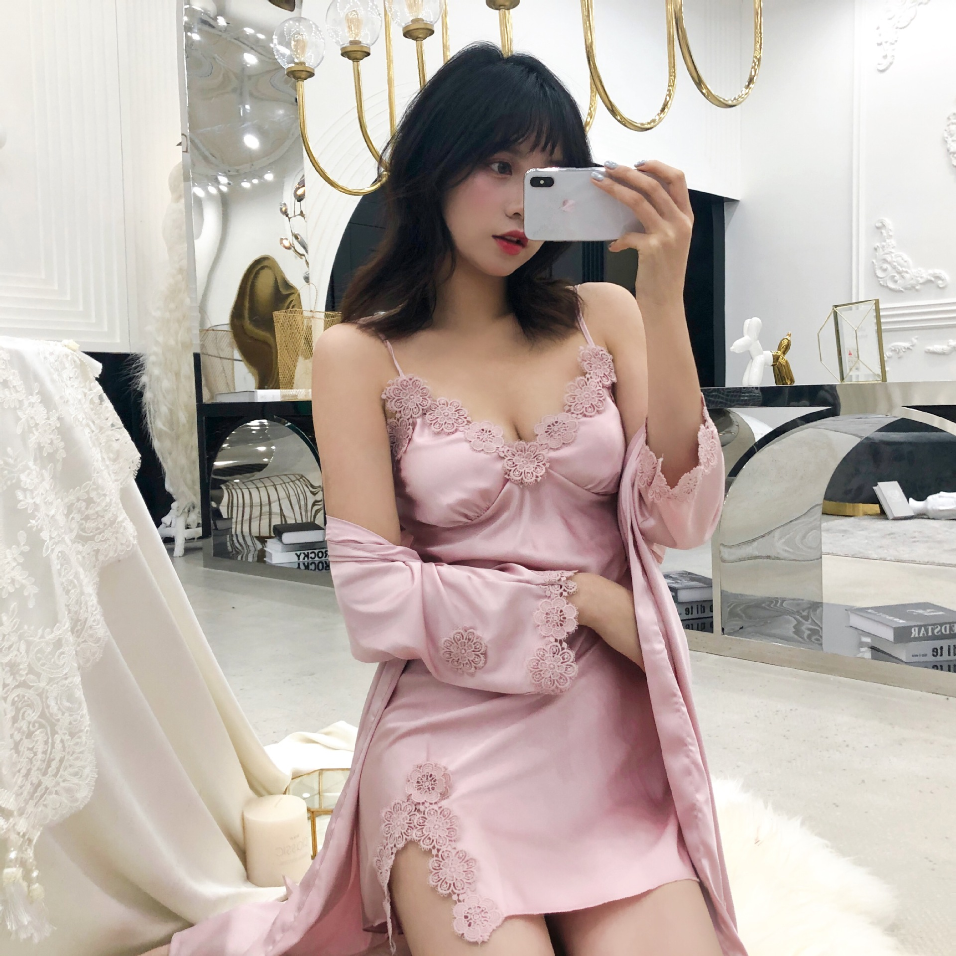 Pajama women's summer sexy suspender Nightgown two piece set with chest cushion gather Pajama Lace Sexy nightdress ice