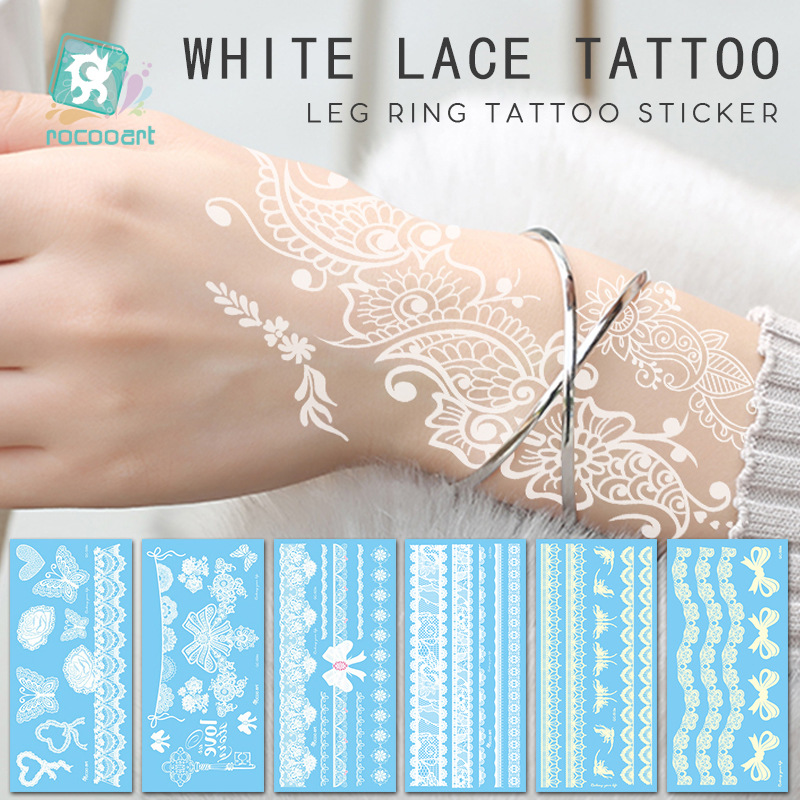 Quick-selling waterproof white lace Hannah tattoo paste fashion personality tattoo bow bracelet tattoo paste