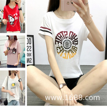 批发2019夏季韩国新款外贸原单女式宽松短袖T恤女学生上衣女装