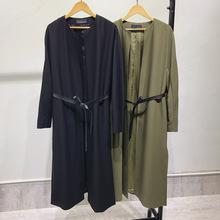 欧洲站高端外贸出口2019春秋新款过膝女装系带收腰中长款风衣外套