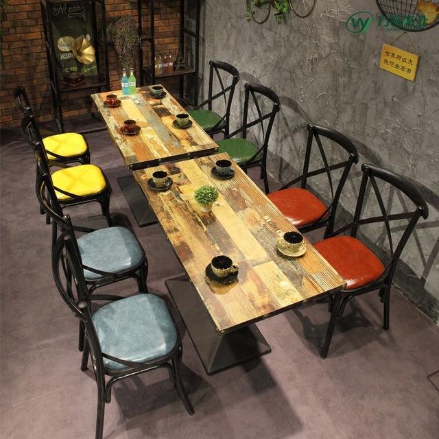 甜品店胡桃里工业风主题餐厅桌椅组合 西餐厅咖啡厅酒吧餐桌椅