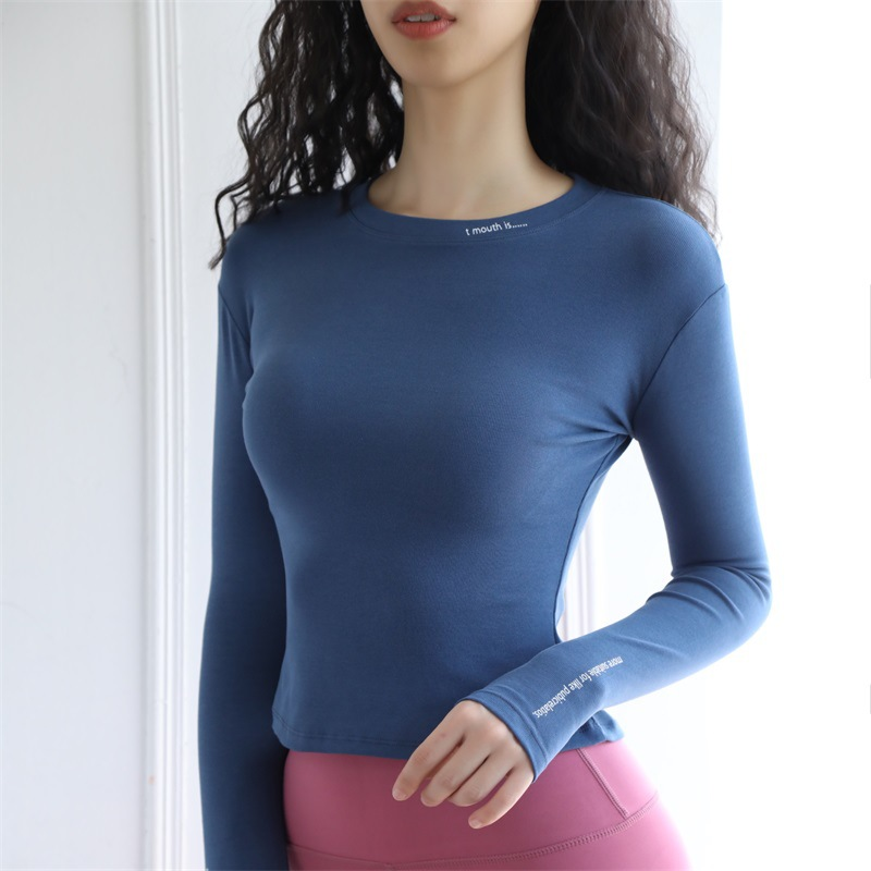 long-sleeved cotton tight yoga tops  NSRMA54206