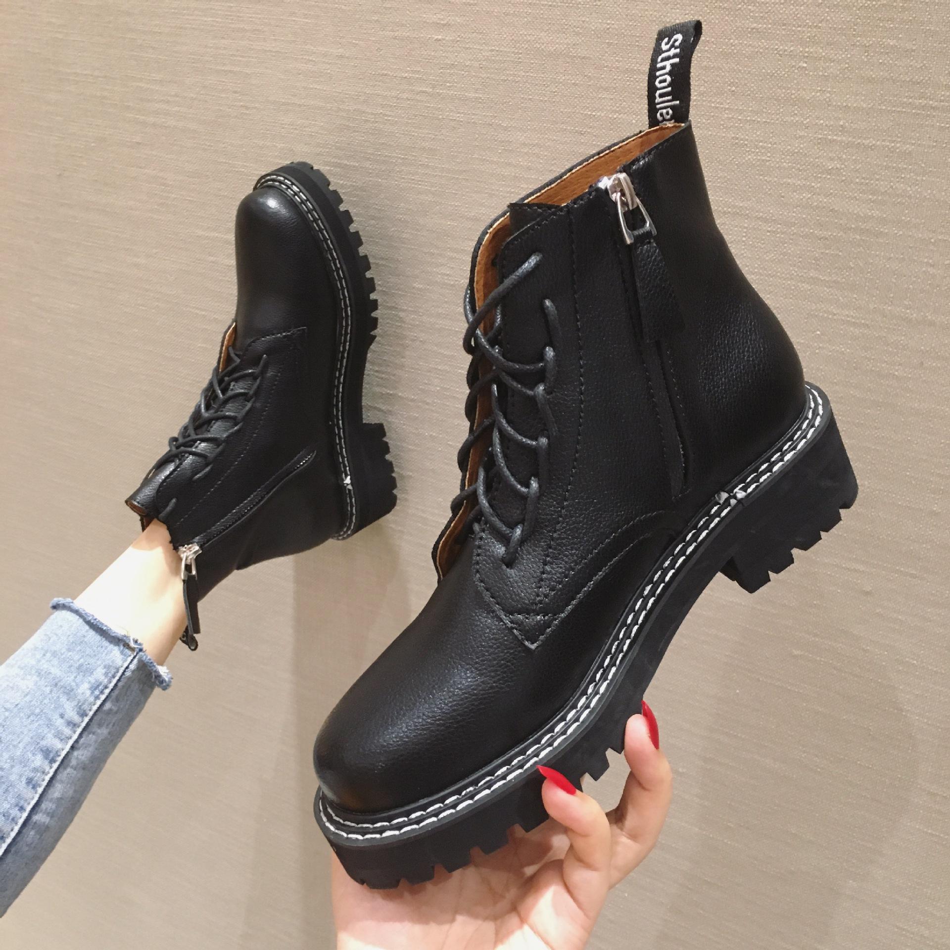 2019秋冬新款女靴英伦风复古系带粗跟短靴ins帅气机车靴马丁靴女