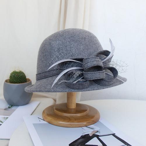 Party hats Fedoras hats for women Hat Lady three-dimensional flower woollen basin hat net yarn hat versatile felt hat