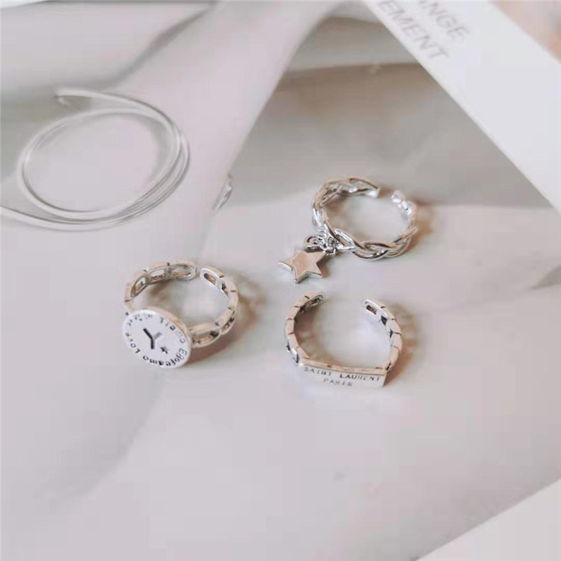 Fashion bright silver old letter open ring NHYQ171143