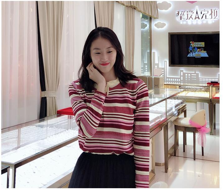 Korean women's long-sleeved autumn new loose striped fashion knit top bottoming shirt  NSYF1080