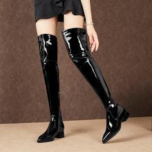 靴女真皮漆皮女鞋女靴低跟平底马丁靴骑士靴大码过膝长靴 45 hbj