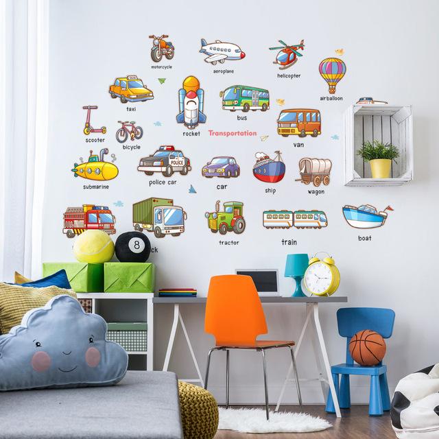 汽车单词早教英文益智墙贴交通工具幼儿园宝宝房墙面装饰 HM92024