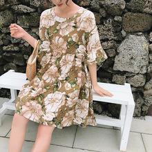 微胖大码女装薄款短袖连衣裙夏季2019新款大花高腰娃娃裙中长裙子