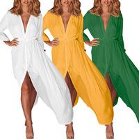 Горячая распродажа Amazon 2019 летнее новое стильное европейское и американское женское сексуальное платье средней длины с глубоким V-образным вырезом FC514