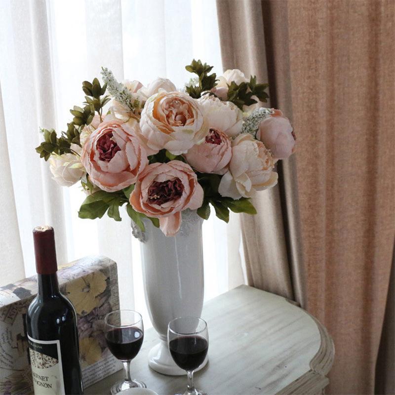 仿真花13头欧式包芯牡丹牡丹花婚庆客厅家居餐桌装饰仿真花假花