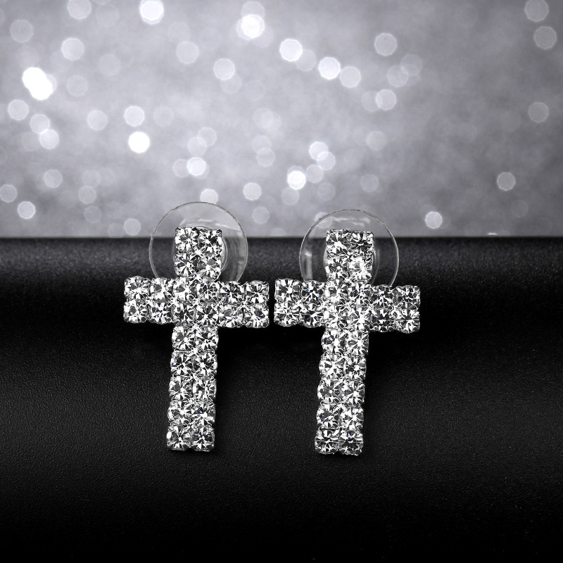 Korean rhinestone cross cute earrings NHIM129890
