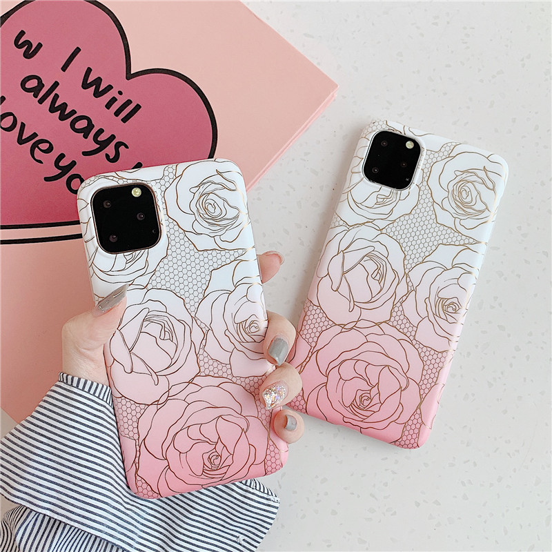Simple hot stamping rose flower mobile phone case for Huawei p30proiphone XR wholesale nihaojewelry NHFI245058