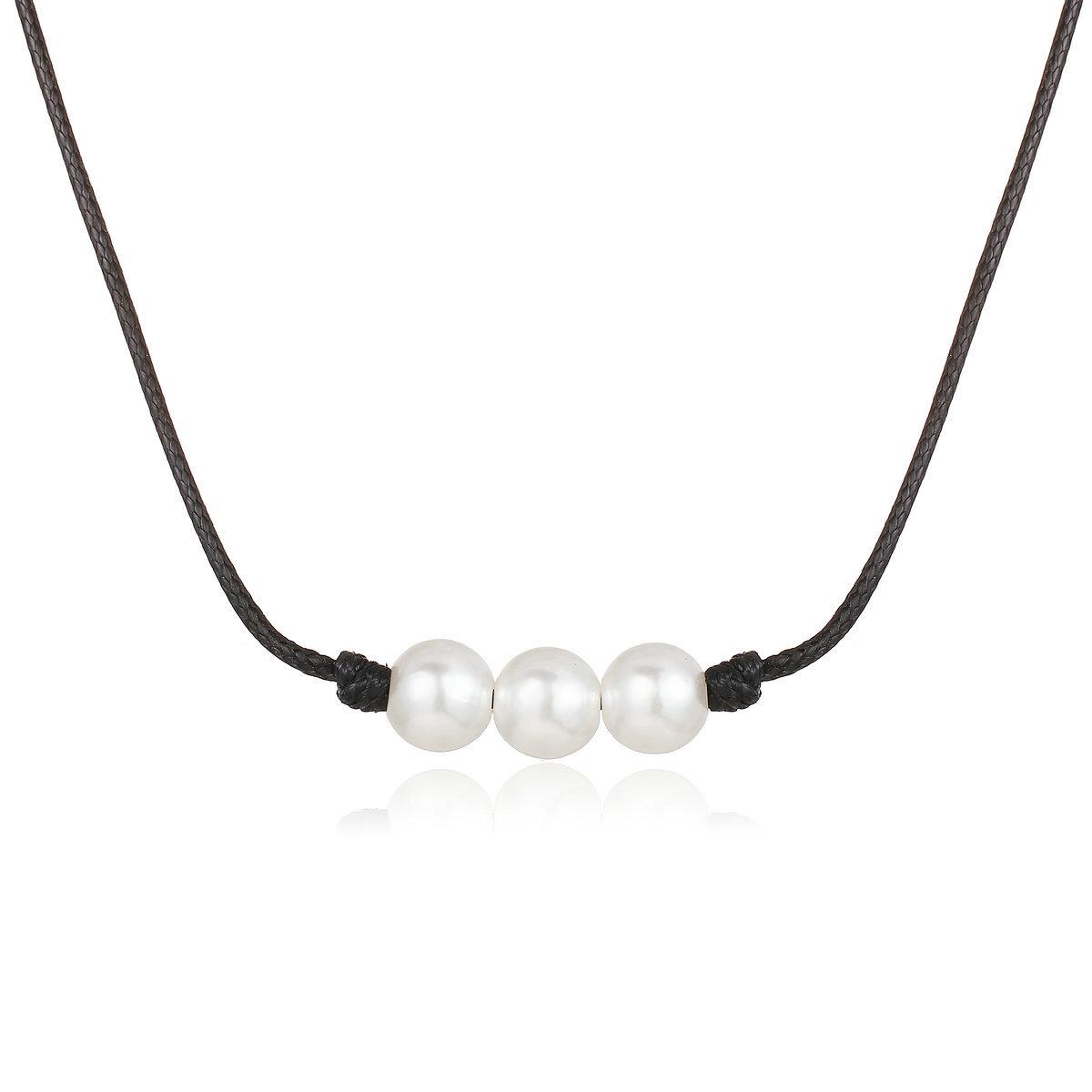 Elegante y sencillo collar de perlas artificiales. NHPJ156024