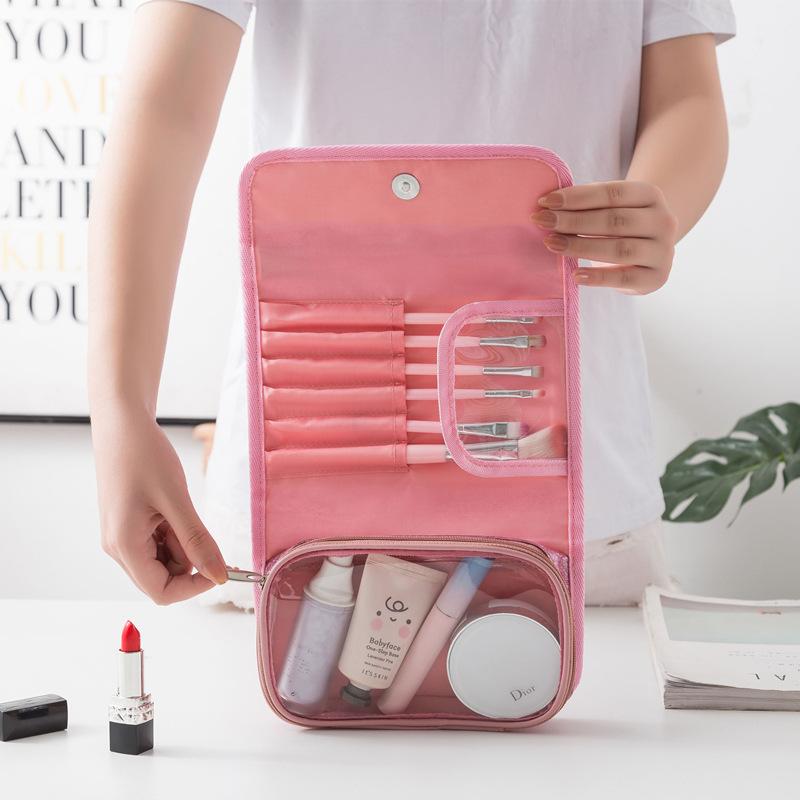 新款手提化妆包PVC洗漱包袋防水按扣可挂式浴室折叠旅行收纳包